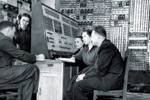 Soviet computer scientists working on an early computer (1952)